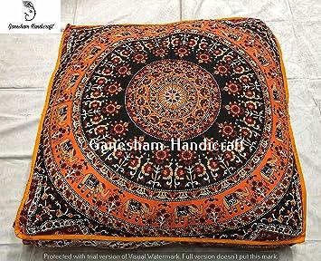 Cama para perro hippie decorativa hecha a mano de puf otomano, mandala algodón cojín manta