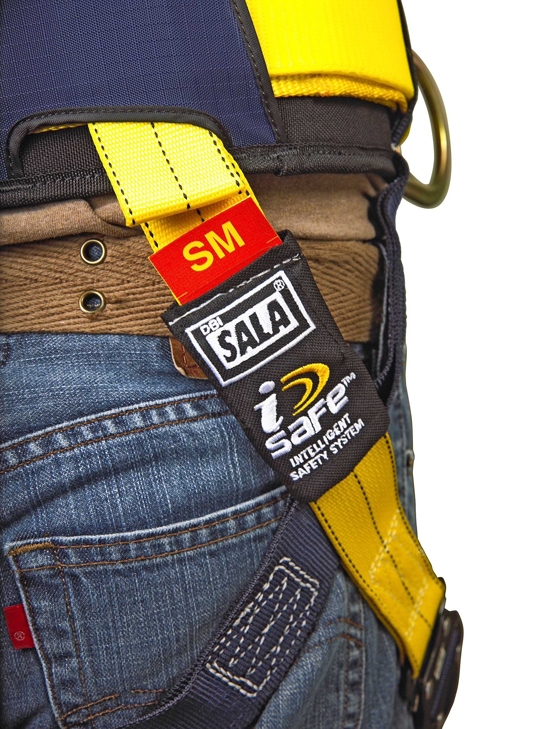 3M DBI-SALA Delta 1101654 Construction Harness, Back/Side D-Rings, Belt w/Sewn-In Back & Shoulder Pads, Tongue Buckle Leg Straps, Medium, Navy/Yellow by 3M Fall Protection Business (Image #7)