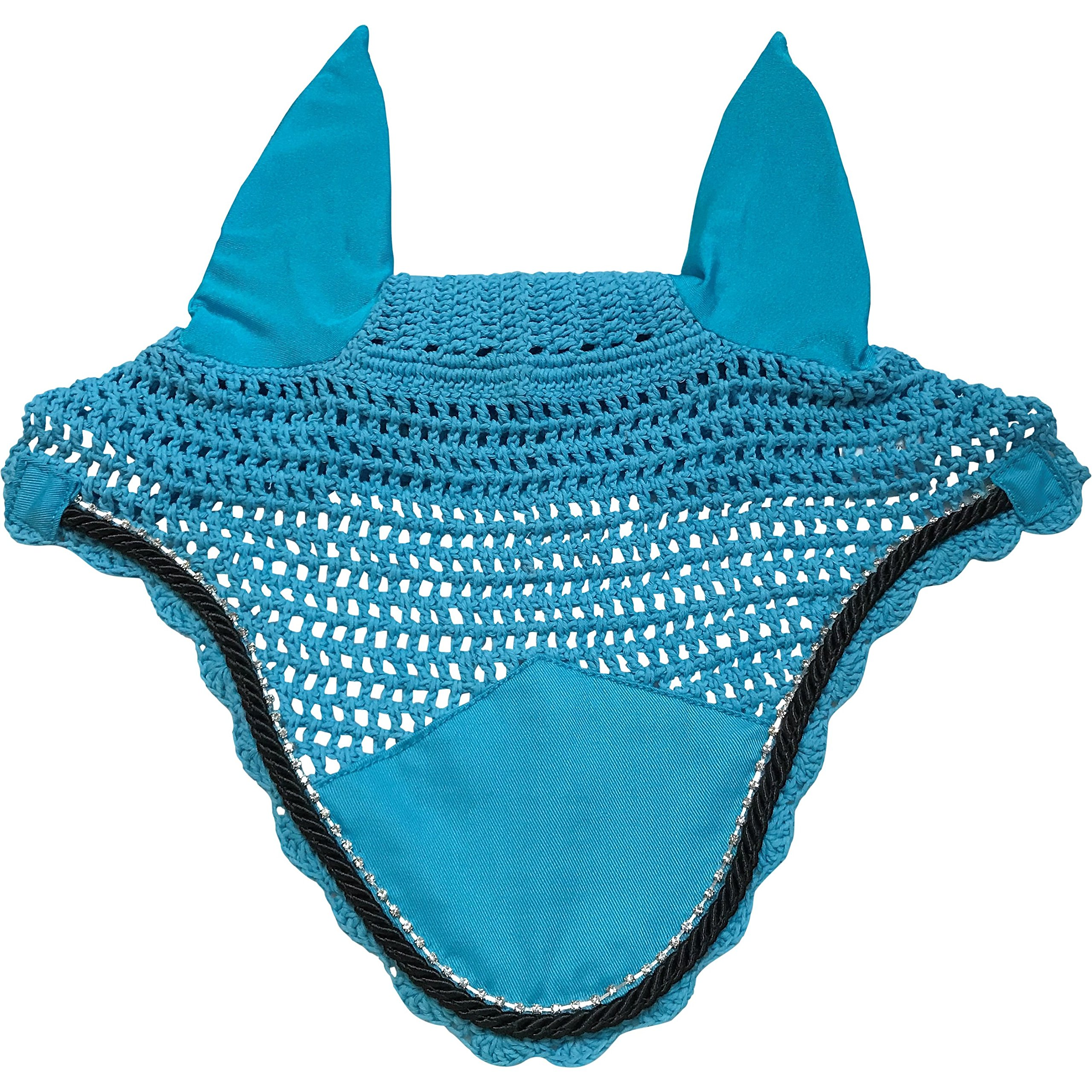 Horse Bonnets/Fly Veil with Scalloped Edge and Rope and Bling Trim (Turquoise/Sea Blue & Black Rope)