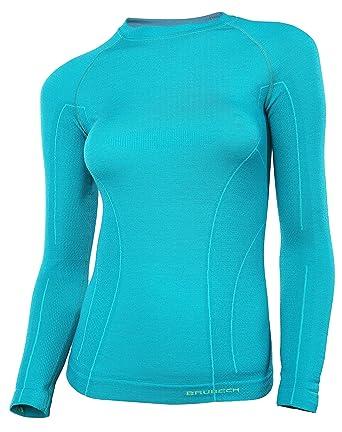 BRUBECK® ACTIVE WOOL Mujer Camiseta de manga larga (41% Lana Merino Hipoalergénico Antibacteriano