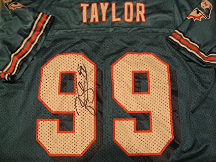 53d5c432 Jason Taylor autographed/signed Miami Dolphins Jersey COA at ...