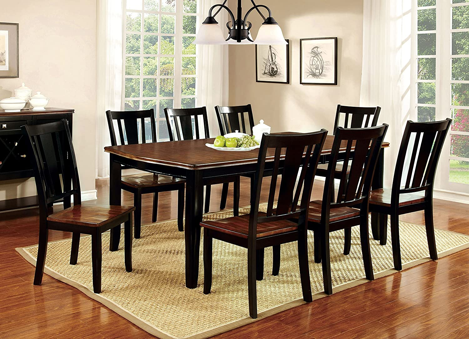 Amazon.com Furniture of America Macchio 9-Piece Transitional Dining Set Cherry/Black Kitchen \u0026 Dining : 42 dining table sets - pezcame.com