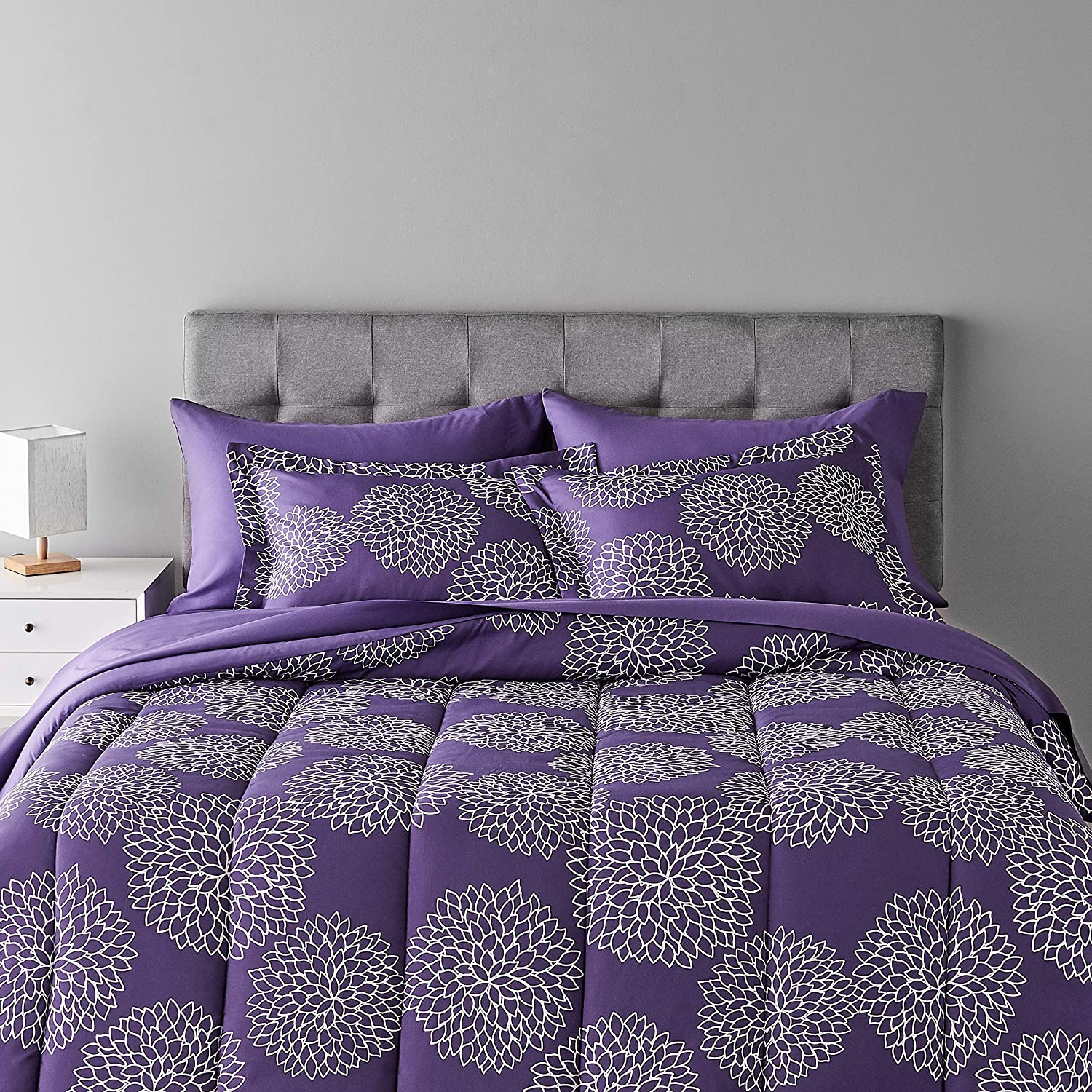 Amazon Basics 7-Piece Bed-In-A-Bag Comforter Bedding Set - Full or Queen, Purple Floral, Microfiber, Ultra-Soft