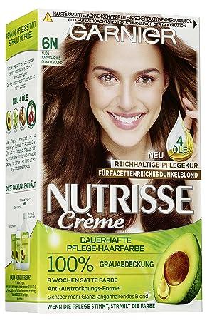 Garnier Nutrisse Creme Coloration Nude Natürliches Dunkelblond 6n Färbung Für Haare Für Permanente Haarfarbe Mit 3 Nährenden ölen 3 X 1 Stück