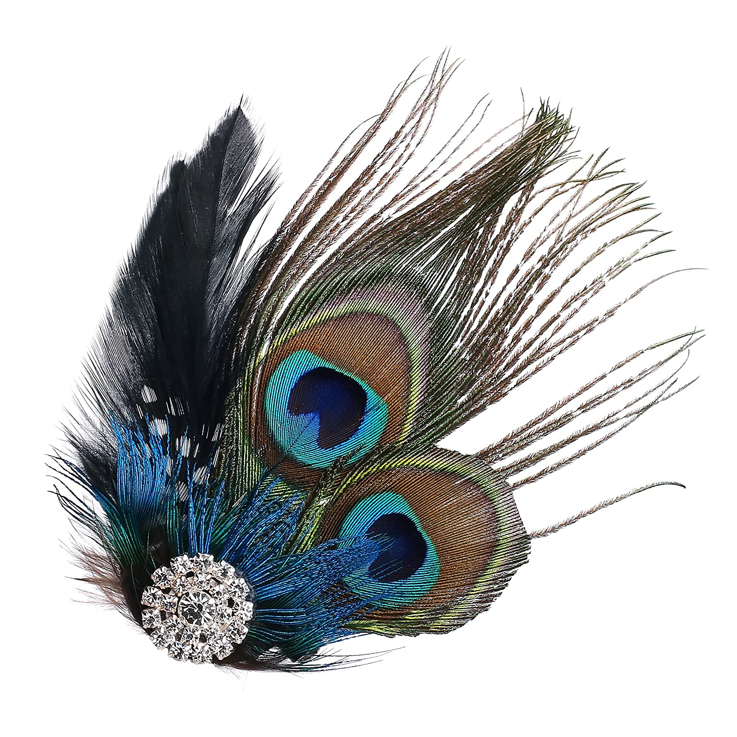 ArtiDeco 1920s Headpiece Crystal Vintage 1920s Flapper Peacock Feather Headband Great Gatsby Costume Accessories Roaring 20's Accessories Ar-Headband013-Peacock1
