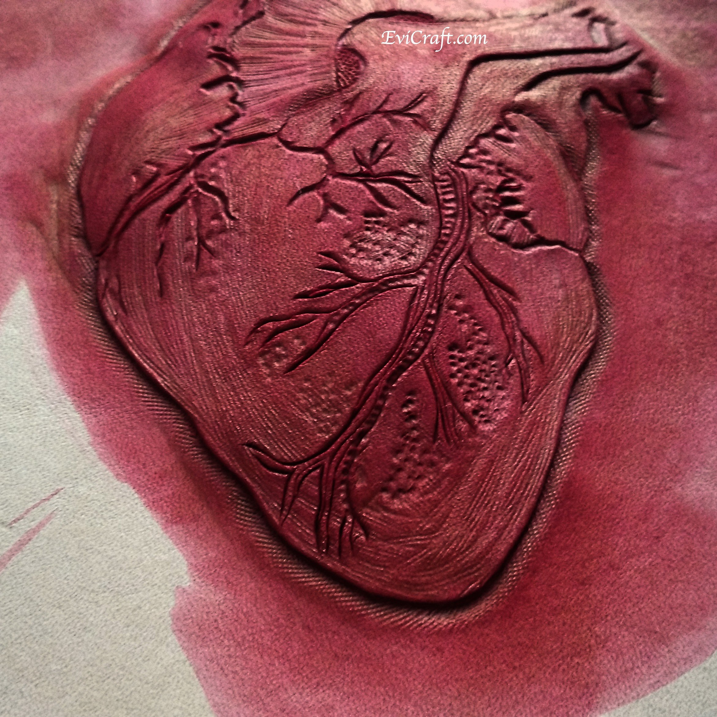 3D hand tooled Leather heart in stand frame, leather wedding anniversary, Valentine's Day gift