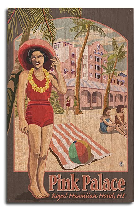 Amazon.com: Lantern Press Hawaii - Royal Hawaiian Hotel (10x15 Wood Wall Sign, Wall Decor Ready to Hang): Posters & Prints