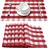 DOLOPL Red Placemat Red and White Placemats Buffalo Check Table Mats Set of 6 Easy to Clean Wipeable Washable Farmhouse…