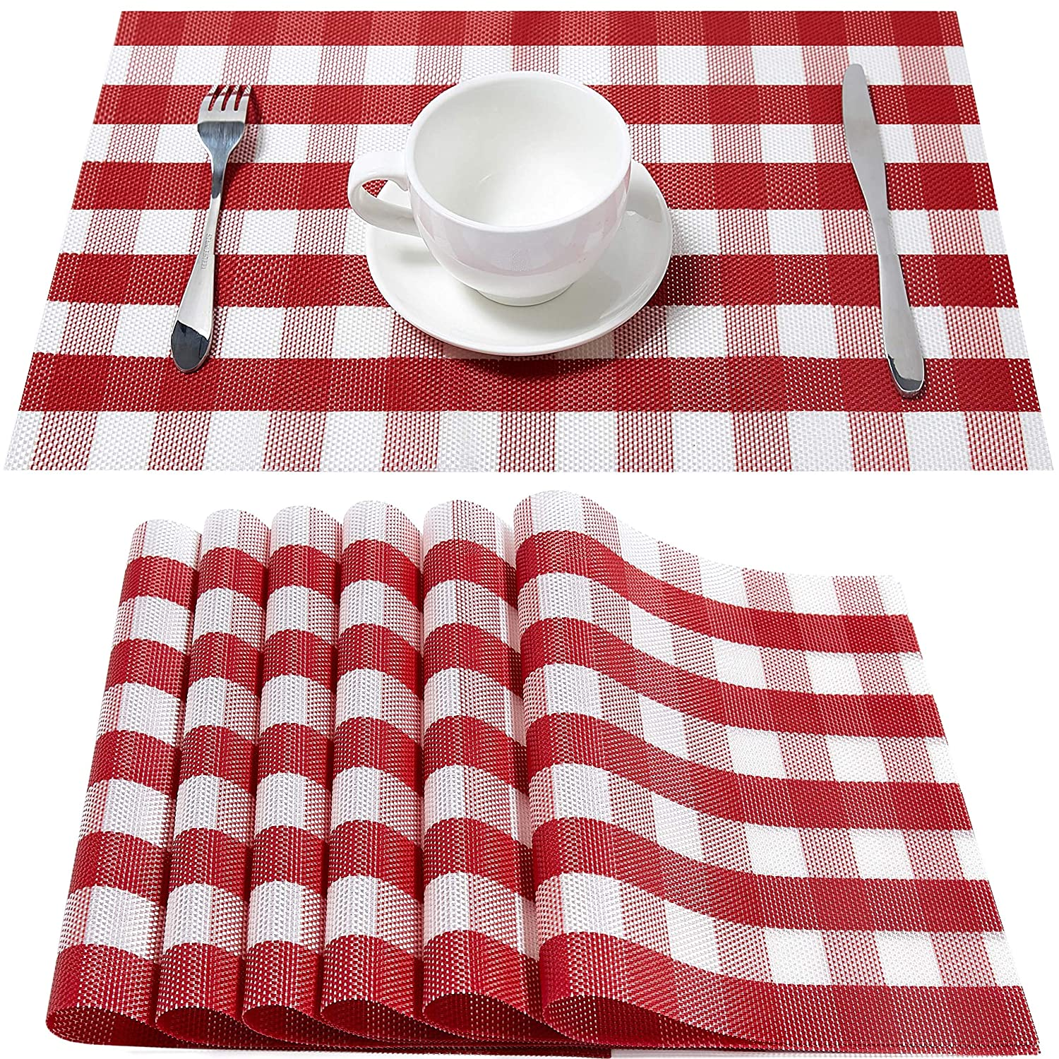 Buffalo Check Placemats Valentines Decorations,HQSILK Table Mats,Placemat Set of 6 Non-Slip Washable Place Mats,Heat Resistant Kitchen Tablemats for Dining Table (Red and White Buffalo Check )