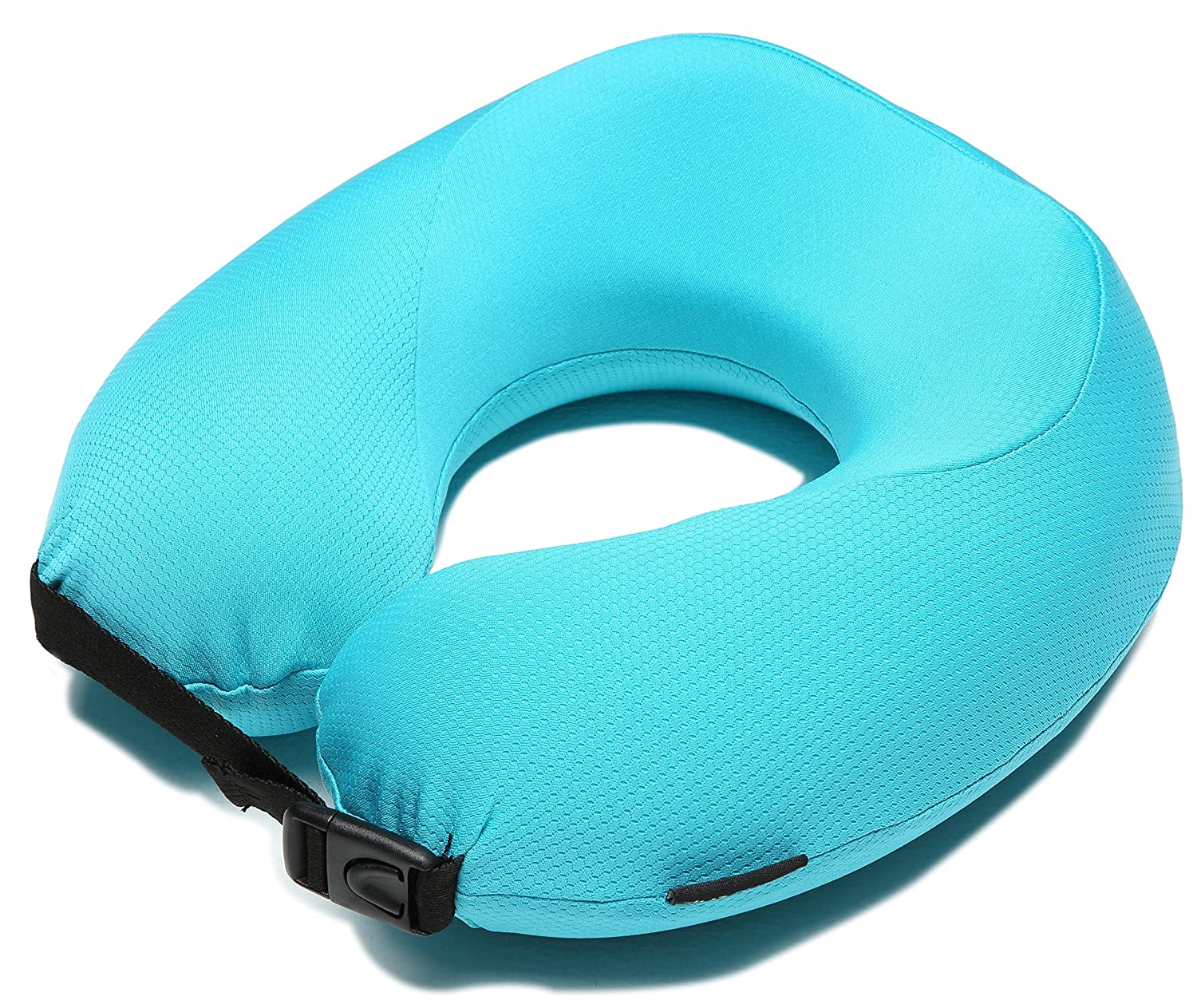 smartrip Adjustable Pillow Size Chin and Cheeks Supporting Fits Neck in Ideal Position Memory Foam Wicking Fabric Patented Travel Neck Pillow Tenderness Scuba Blue Washable