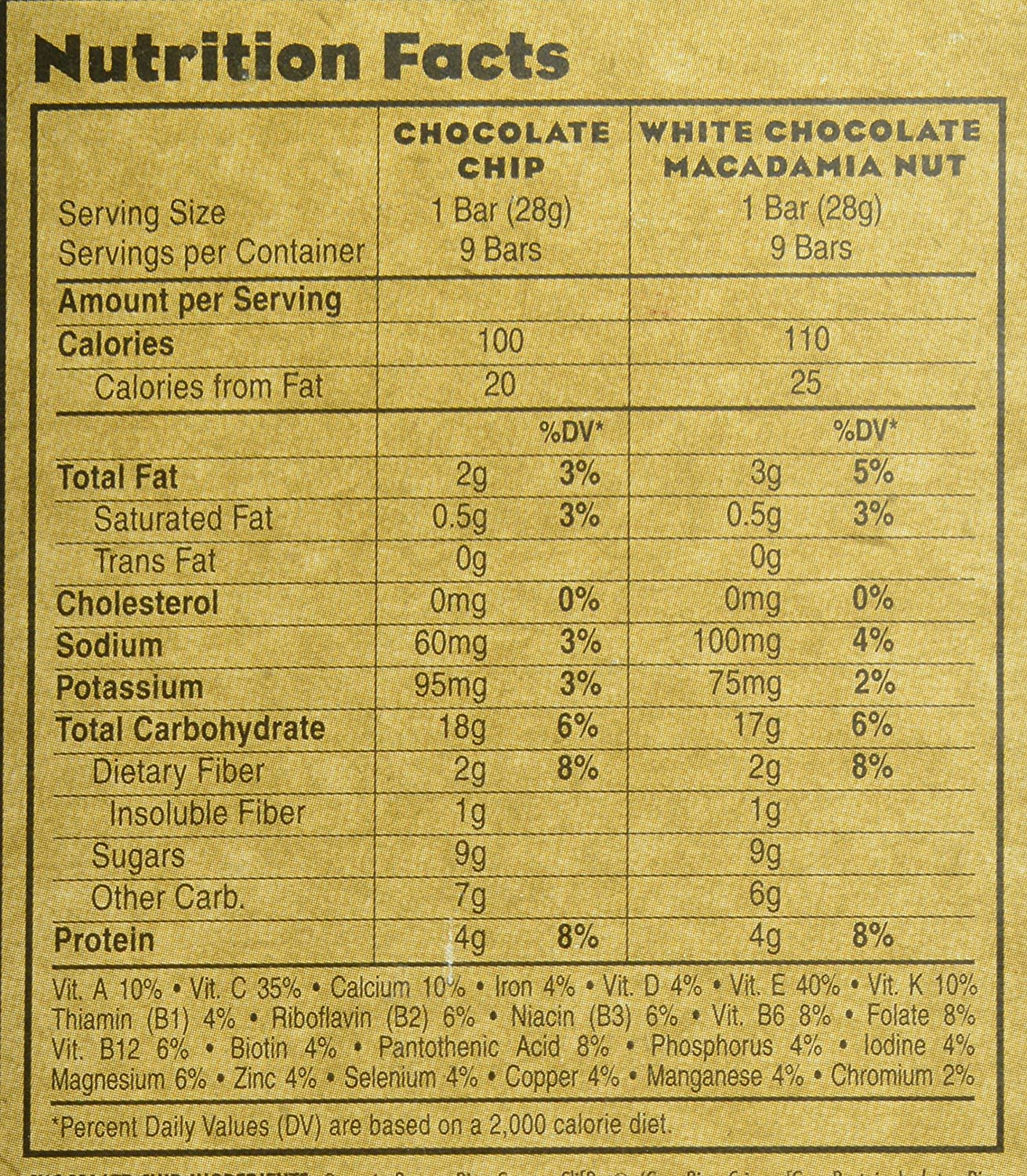 Chocolate Chip Clif Bars Calorie