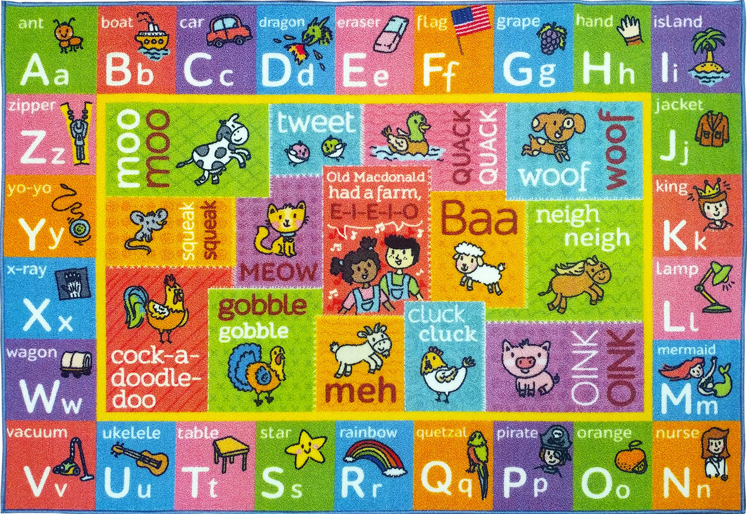 KC CUBS Playtime Collection ABC Alphabet with Old McDonald's Animals Educational Learning Area Rug Carpet for Kids and Children Bedrooms and Playroom - 5' 0'' x 6' 6''