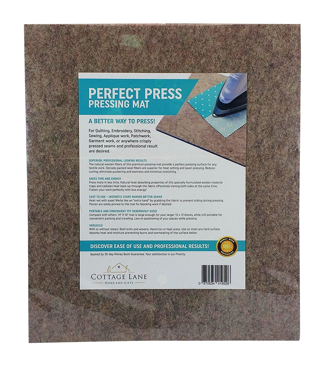 "Quilter's Pressing Mat (Pad) 14"" x 16""(224 sq in) Quality Wool Ironing Mat. Quilting Embroidery Stitching Sewing Applique Work Patchwork Garment Work. Crisply Pressed Seams with Professional Results Cottage Lane Home and Gifts"