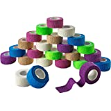 MEDca Self Adherent Cohesive Wrap Bandages 1 Inch X 5 Yards 24 Count with Strong Elastic and Colorful First Aid Tape for Sprain Swelling and Soreness on Wrist and Ankle (Rainbow Color)