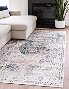 Unique Loom Chateau Collection Distressed Vintage Traditional Textured Area Rug (2' 2 x 3' 0) Beige/Navy Blue