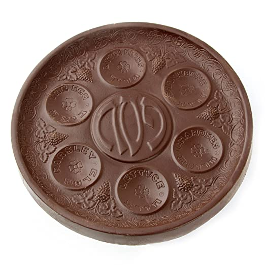 Passover Seder Plate, Tradtional Pesach Seder Plade made of Dark Chocolate