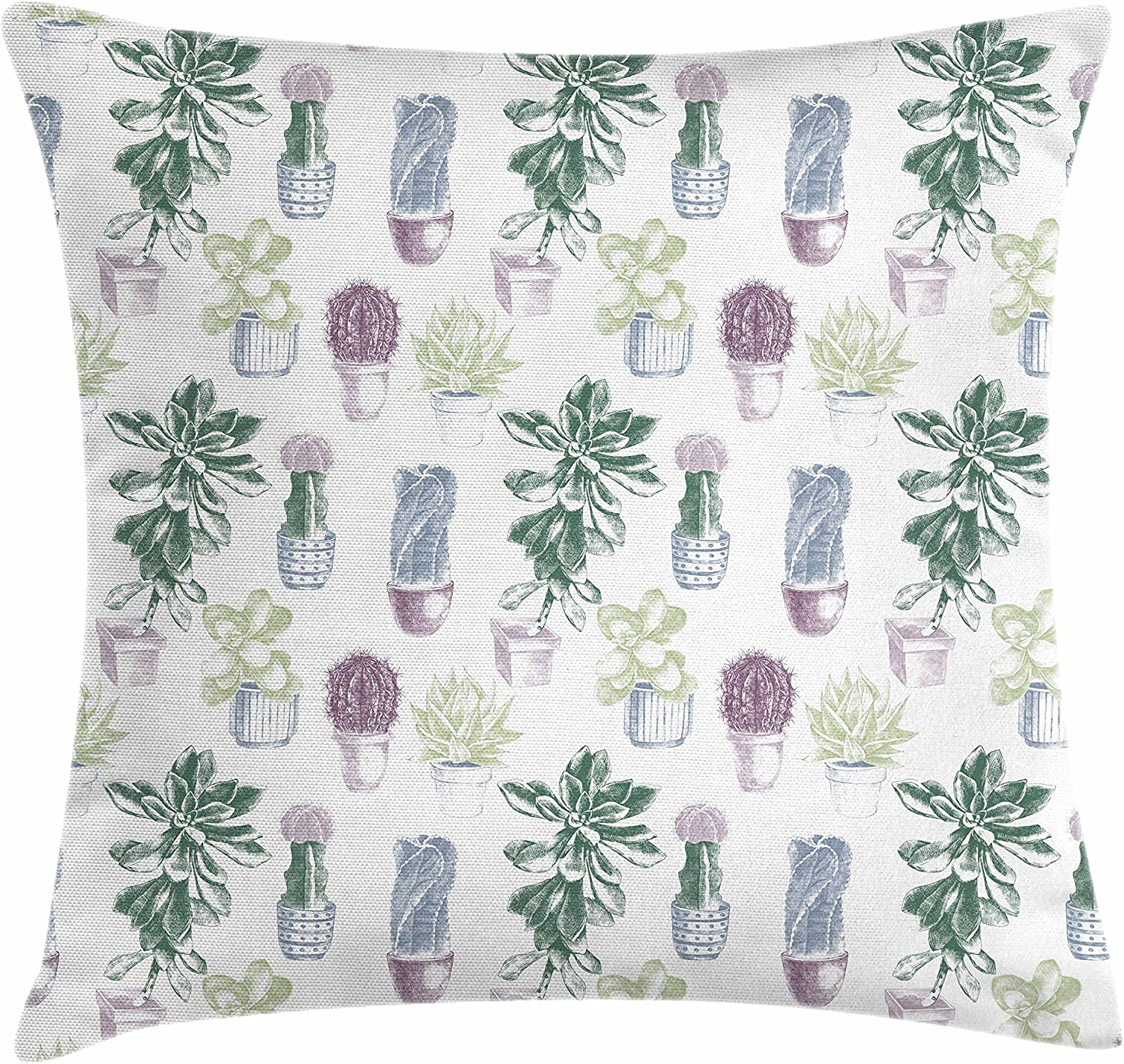 "Ambesonne Cactus Throw Pillow Cushion Cover, Mexican Local Plants Succulents Indigenous Foliage in Flowerpots Domestic Flora Art, Decorative Square Accent Pillow Case, 18"" X 18"", Dark Lavender"