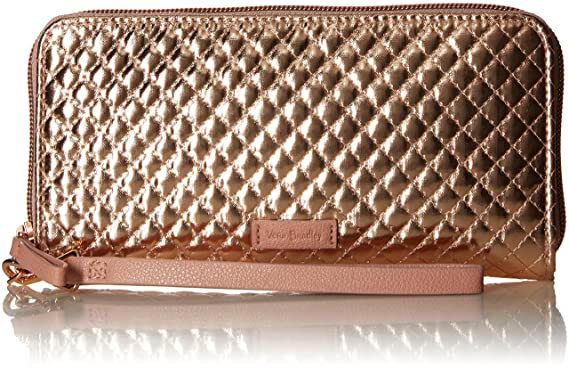 Vera Bradley Iconic RFID Accordion Wristlet, Foiled Cotton, Rose Gold  Shimmer f3e05a4c19