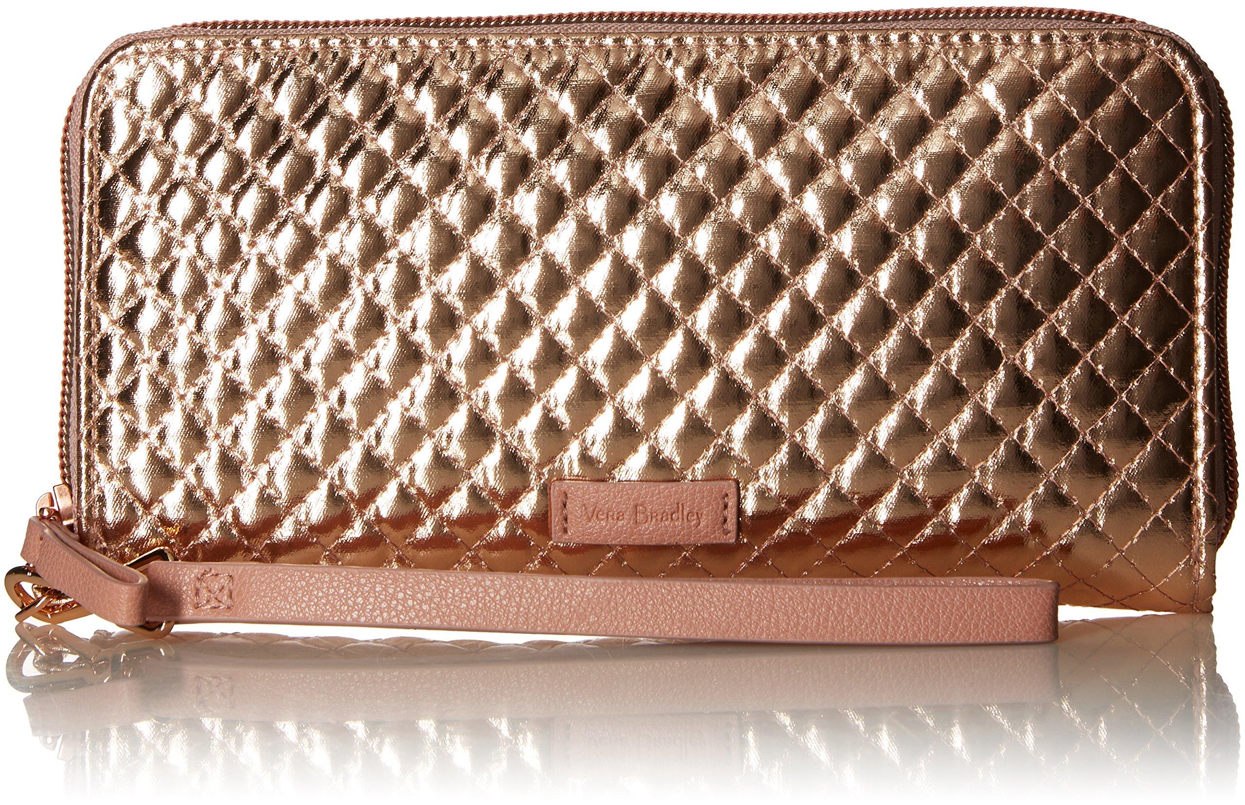 Vera Bradley Iconic Rfid Accordion Wristlet, Foiled Cotton, Rose Gold Shimmer