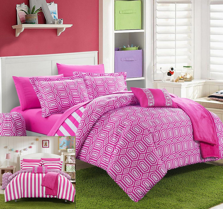 Chic Home 10 Piece Paris Reversible Geometric and Striped Comforter Sheet Set, Full, Fuchsia