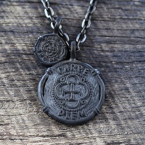 9d6144981b45c Amazon.com: Carpe Diem Pendant Mens Necklace Black Pendant Black ...