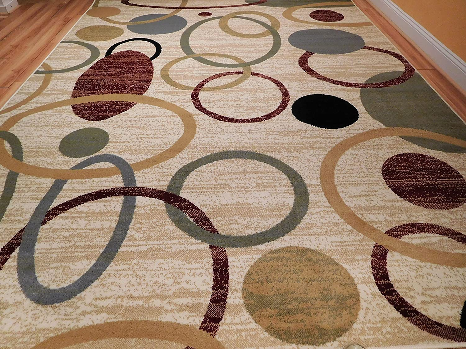 Super New Home Multicolor Modern Rugs For Living Room Abstract Circles 5X8 Rugs For Brown Sofa 5 By 7 Wave Inspired India Printed Rug 5X8 Feet Home Interior And Landscaping Oversignezvosmurscom