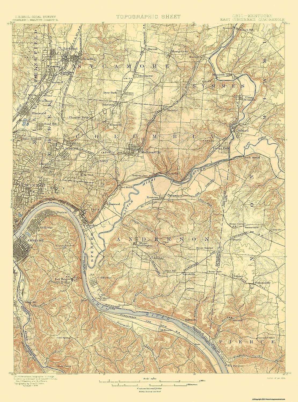Us Map Cincinnati.Amazon Com Topographical Map Cincinnati East Ohio Kentucky Quad