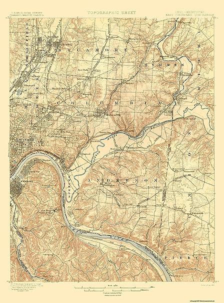Amazon.com: Topographical Map - Cincinnati, East Ohio, Kentucky Quad ...