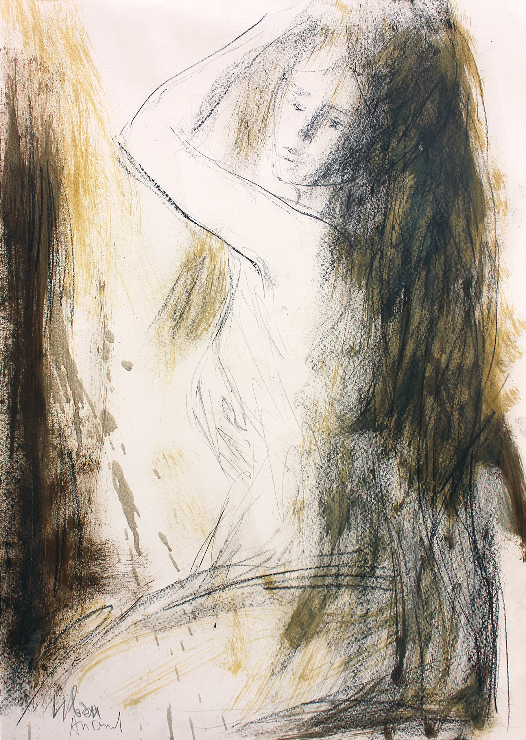 Original charcoal sketch Wall decor Artistic drawing Woman Modern Figurative art by IvMarART