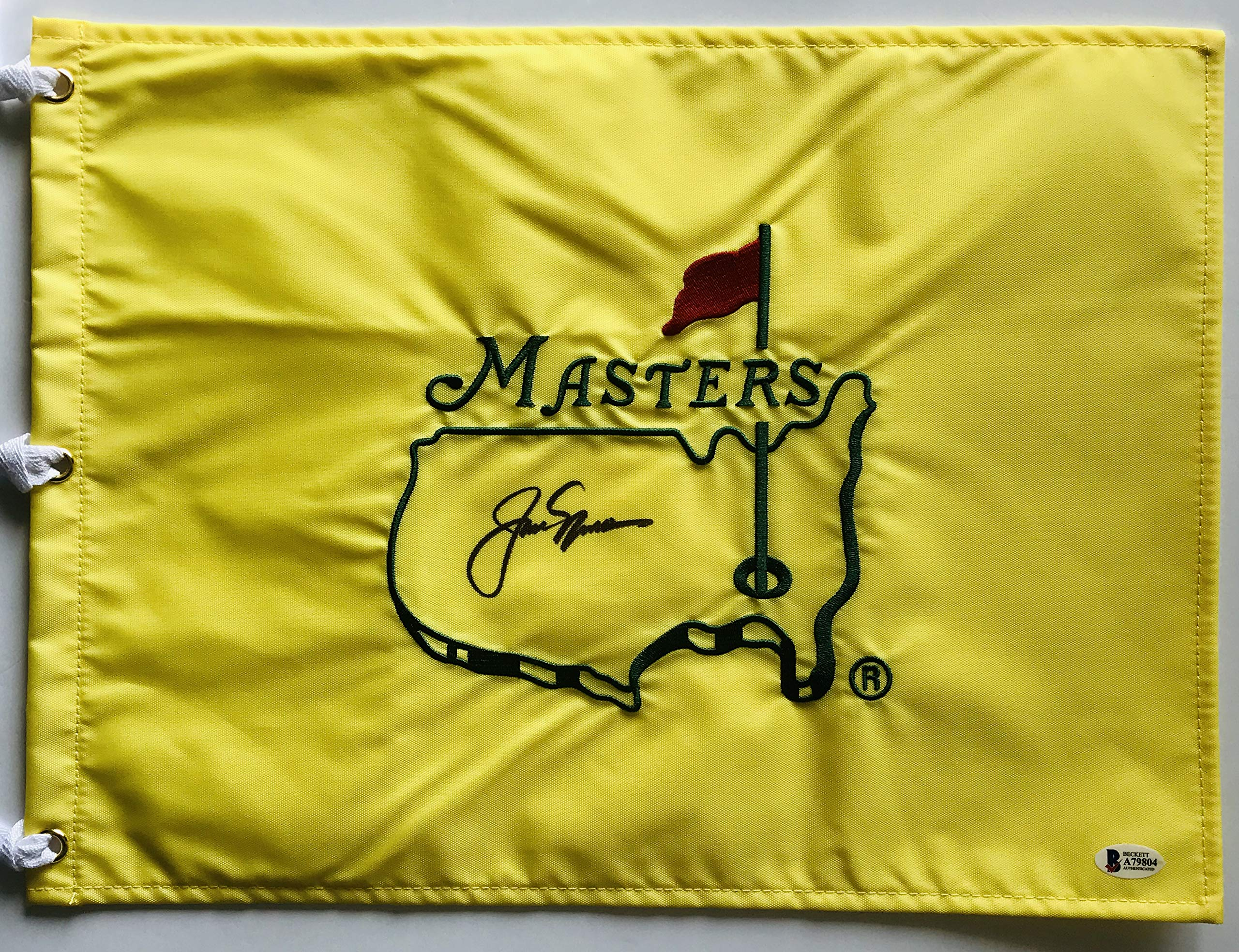 Jack Nicklaus signed Masters golf flag undated beckett loa pga augusta national