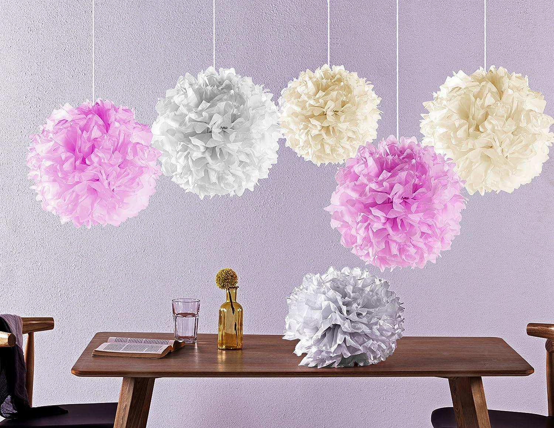 Laneta Seidenpapier Pompons - 12 Pompom in verschiedenen Farben – altweiss rosa creme