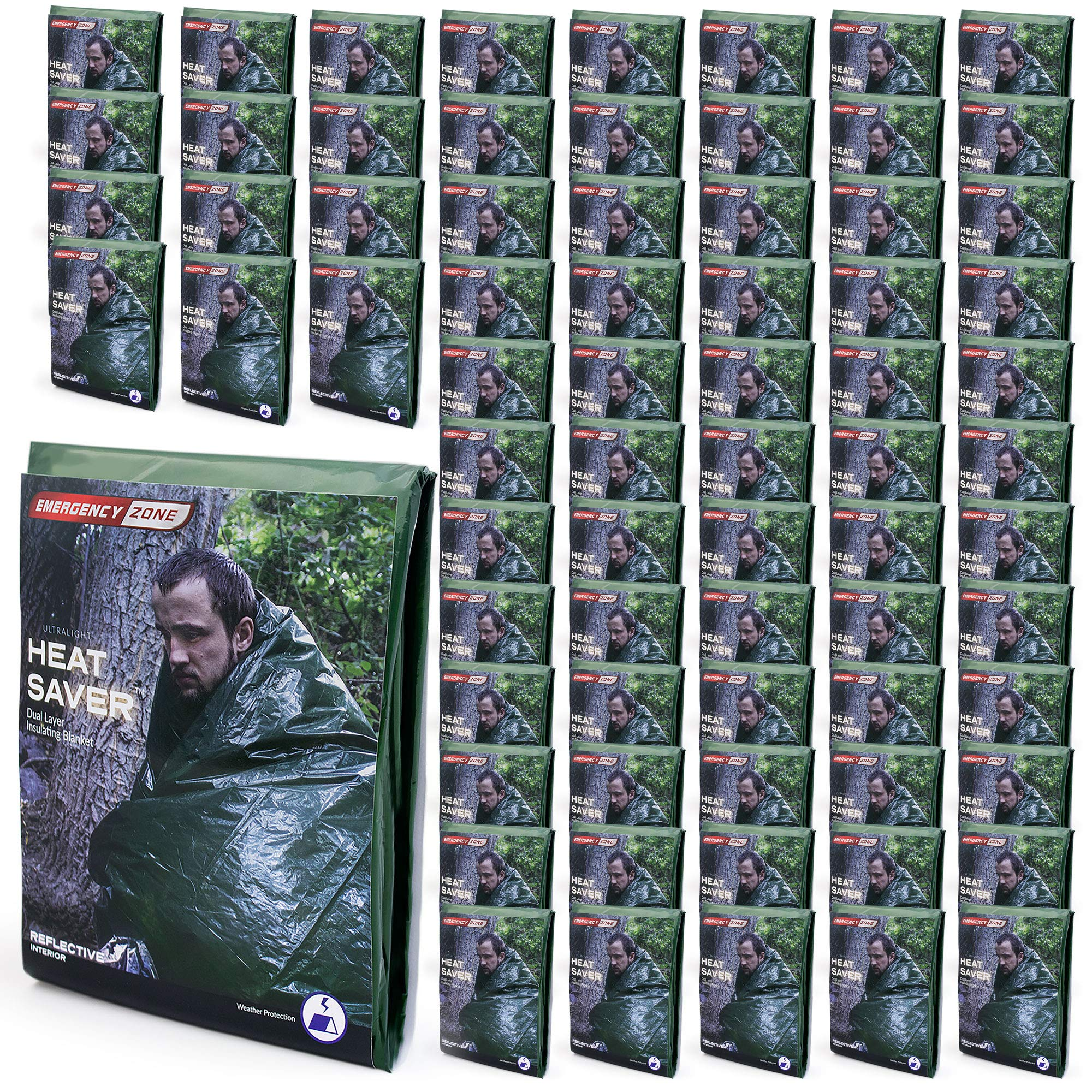 Emergency Zone Ultralight HeatSaver Dual Layer Insulating Emergency Blanket. 72 Pack by Emergency Zone (Image #1)