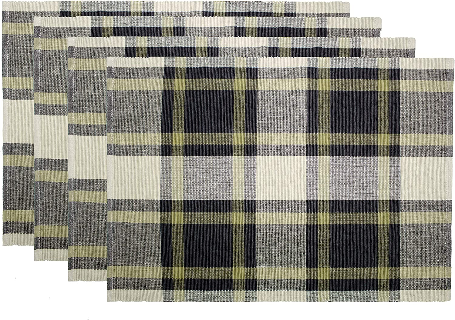 Cotton Craft Rustic Plaid Set Of 4 Pure Cotton Placemats Black And Gold Kitchen Dining