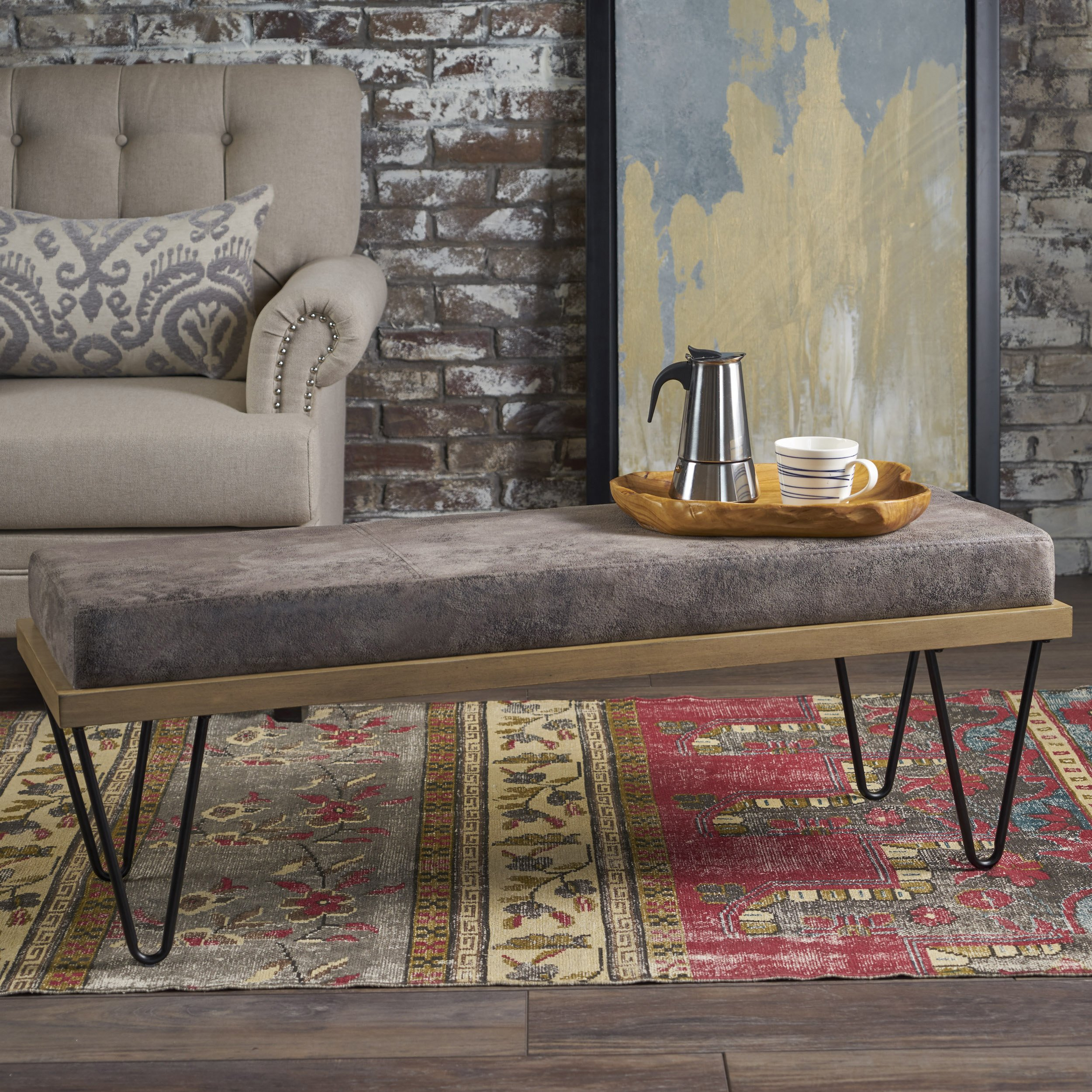 Great Deal Furniture 302218 Elaina Bench | Perfect for Dining Table or Entry Way | Danish, Minimal, Mid Century Modern Design | Hairpin Leg | Fabric in Greyish Brown, Matte Black by Great Deal Furniture
