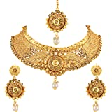 a2518d8de414e Asmitta Elegant Gold Plated LCT Stone Choker Style Necklace Set with  Mangtikka for Women