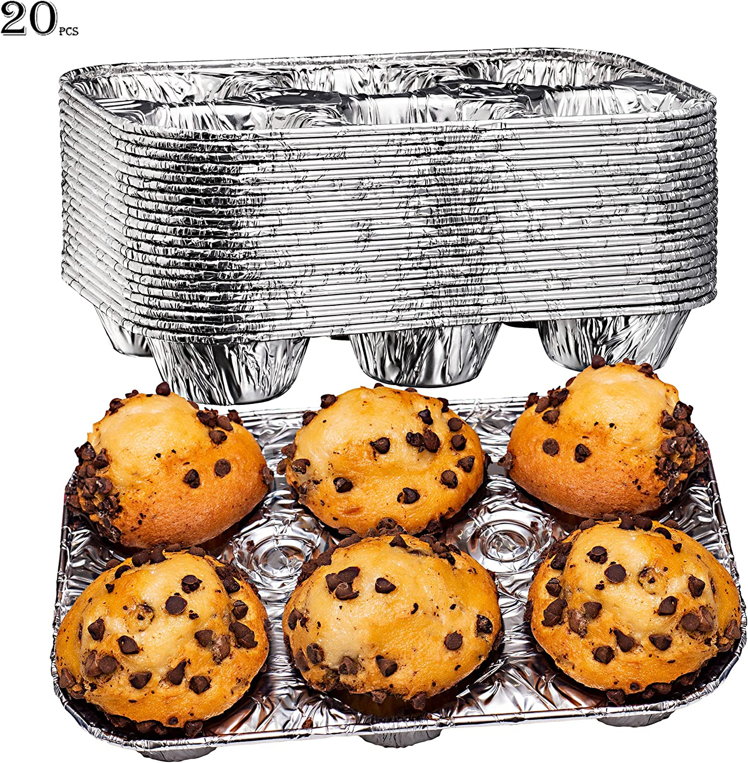 Elite Selection Aluminum Foil Muffin Pans – Reusable and Disposable Muffin foil Pans – Stackable 6 Slot Muffin Trays – Oven & Freezer Safe –20 Piece Set