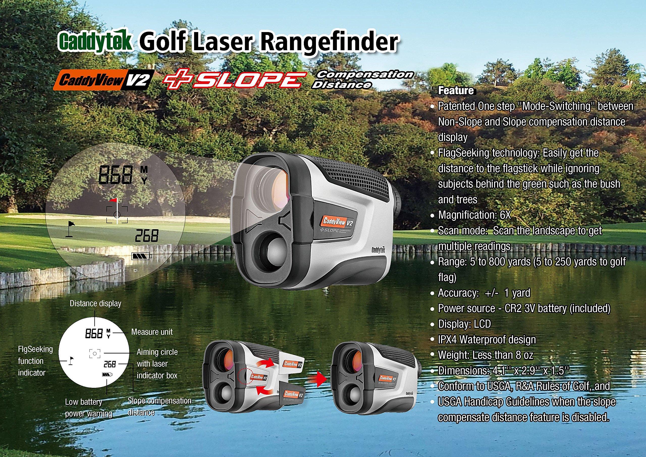 Caddytek Golf Laser Rangefinder with Slope Compensate Distance, CaddyView V2+Slope by CaddyTek (Image #2)