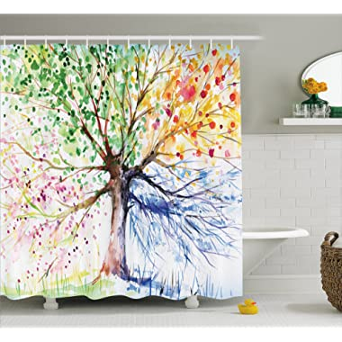 Colorful Tree Four Seasons Shower Curtain, Extra Long Bath Decorations Bathroom Decor Sets with Hooks Marriage Gifts for Men and Women in Art Print Polyester Fabric, 69  W By 75  L, White Green