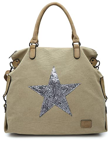 BHSL Canvas Rainproof Fabric Trendy Designer Inspired Large Size Glitter  Star Top Handle Tote Hobo Shoulder. Roll over image to zoom in. Big Handbag  Shop a2a408a5725b4