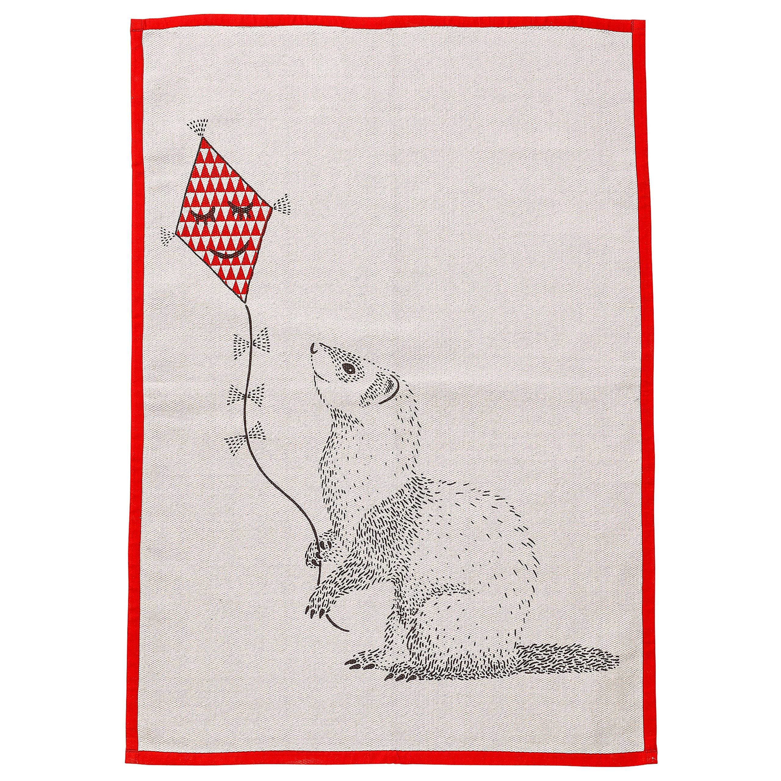 Bloomingville Blush Cotton Rug with Animal Flying Kite