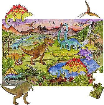 AmaGenius Rompecabezas de piso de dinosaurio con grandes piezas gruesas que también se puede utilizar en una mesa: Amazon.es: Juguetes y juegos