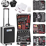 TRESKO® Tool Box with 735 Pcs Hand Tools Trolley Mechanic Household Toolbox Kit Set Case Cart on Casters Wheels
