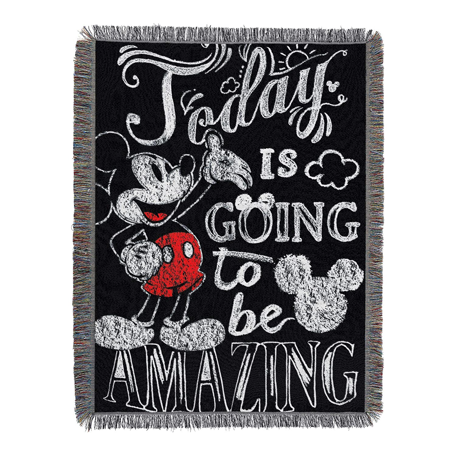 "Disney's Mickey Mouse, ""Amazing Day"" Woven Tapestry Throw Blanket, 48"" x 60"", Multi Color"