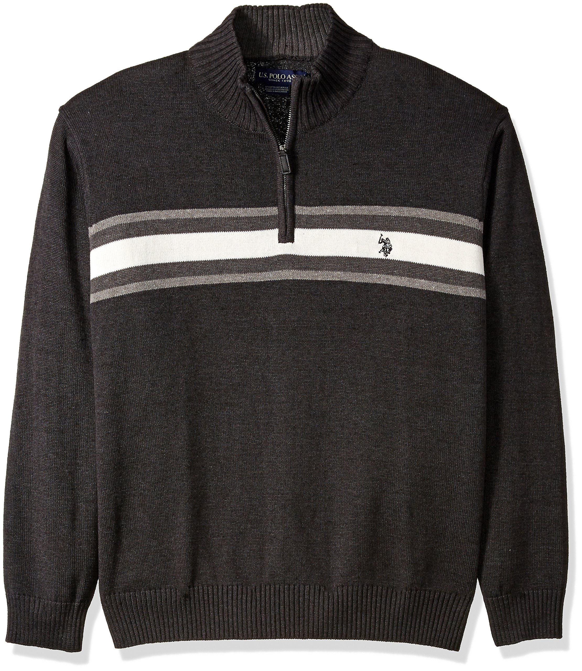 U.S. Polo Assn. Men's Tri-Color Chest Stripe 1/4 Zip Sweater, Charcoal Heather, Small