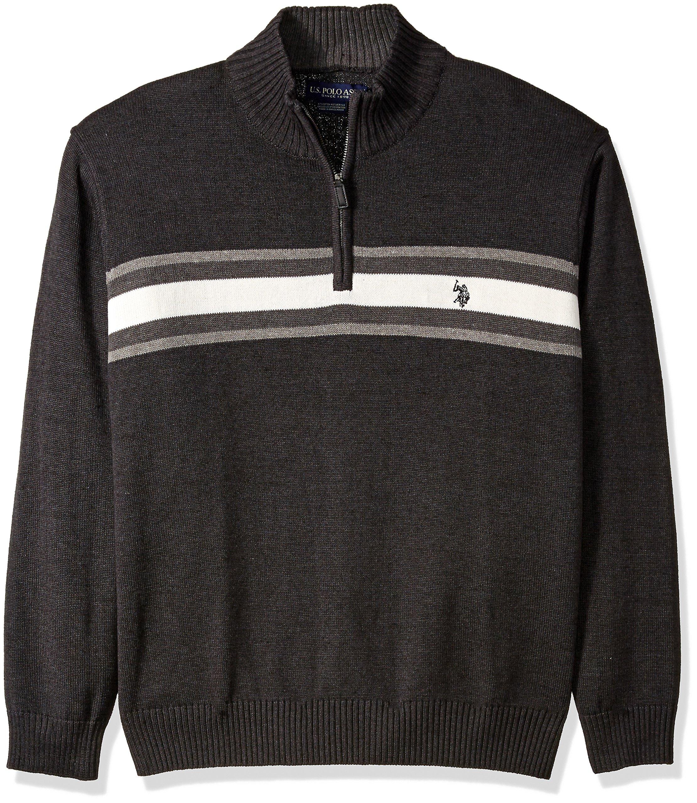 U.S. Polo Assn. Men's Tri-Color Chest Stripe 1/4 Zip Sweater, Charcoal Heather, X-Large