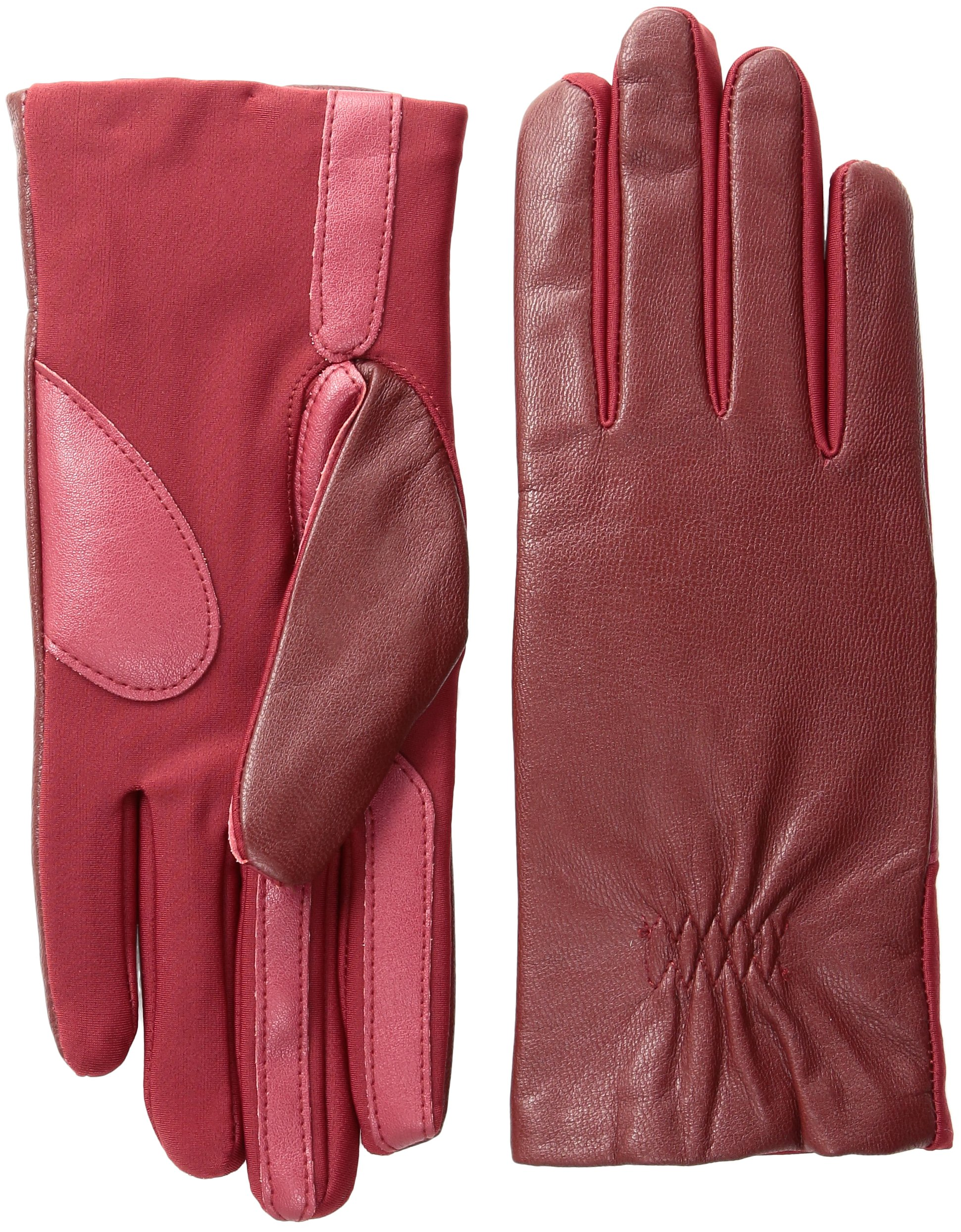 Isotoner Women's Stretch Leather Gloves Fleece Lined with Smart Touch Technology, Really Red Large/X-Large