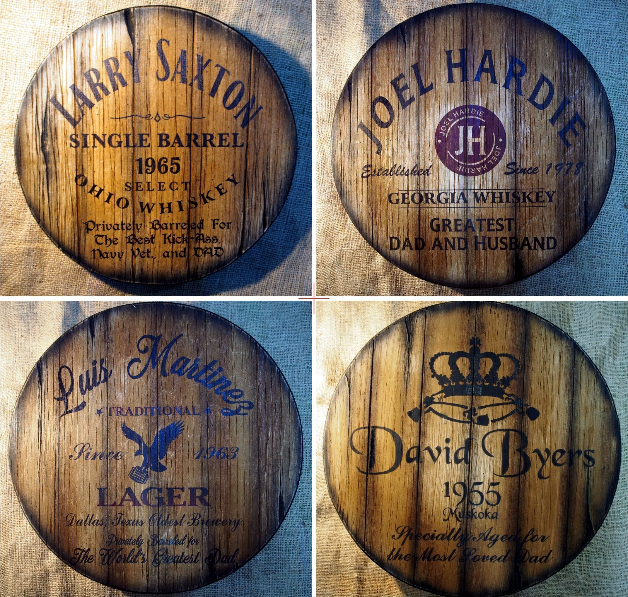 Father's day Personalized Gift | Decor sign inspired by old whiskey and beer barrel tops | Rustic wall decor | Hand-painted artwork on aged wood | Unique gift for dad | Man Cave, Home Bar decoration