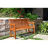 Vifah V206E Henly Outdoor Two Person Bench, 4-foot, Red brown