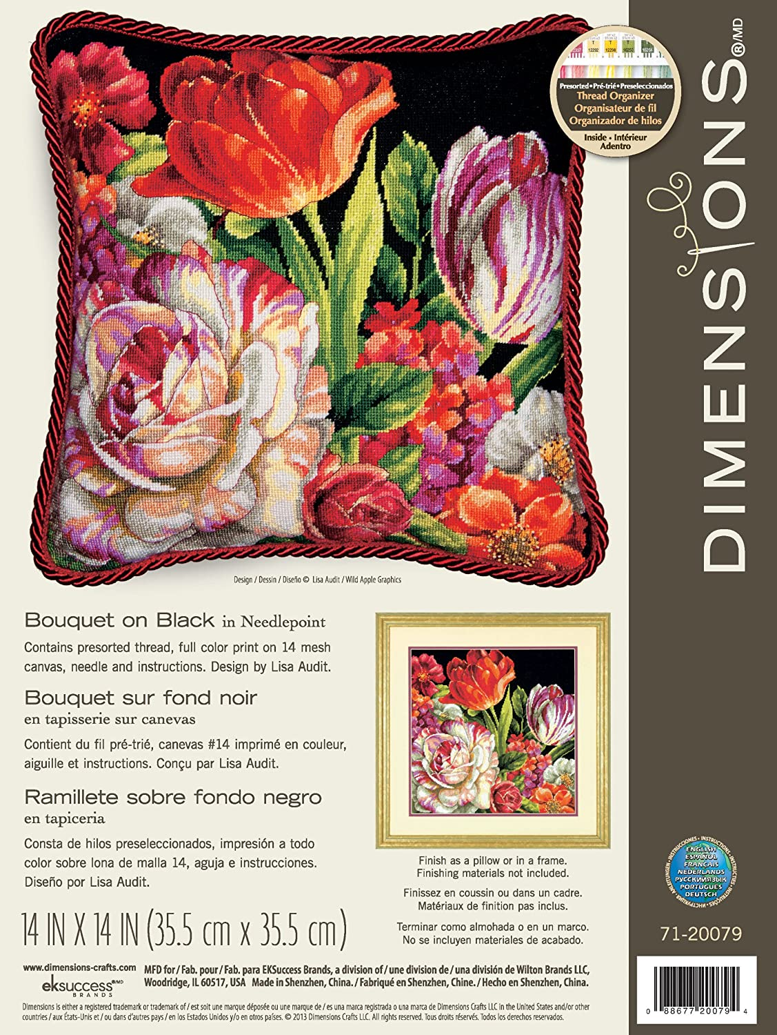 Wilton Dimensions Crafts Needlepoint Kit, Bouquet on Black 71-20079