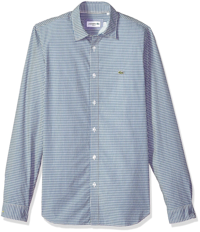 b323dc3b9f Lacoste Men's Long Sleeve Mini Check Poplin Button Down Slim Woven ...